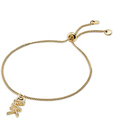 Michael Kors Crystal Logo Charm Slider Bracelet