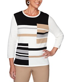 Alfred Dunner Classics  Colorblocked Graphic Sweater