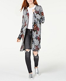 Juniors' Printed Rib-Knit Duster Cardigan