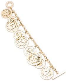 Anne Klein Gold-Tone Logo Charm Toggle Bracelet