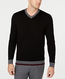 Tasso Elba Men's Merino V-Neck Solid Sweater, Created for Macy's