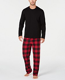 Men's Plaid Fleece Pajama Set, Created for Macy's