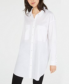 Organic Cotton Button-Down Tunic Top, Regular & Petite