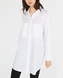 Eileen Fisher Organic Cotton Button-Down Tunic Top, Regular & Petite