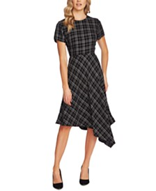 Vince Camuto Plaid Asymmetrical-Hem Dress