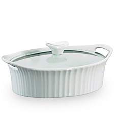 White 1.5-Qt. Oval Casserole with Glass Lid