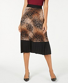 Petite Printed Pleated Midi Skirt, Created For Macy's