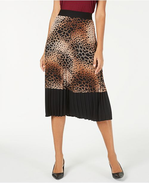 Alfani Pleated Snake-Embossed Midi Skirt, Created for Macy's