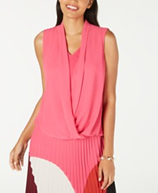 Alfani Petite Sleeveless Draped-Front Top, Created for Macy's