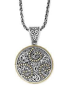 "EFFY® Filigree Disc 18""  Pendant Necklace in Sterling Silver & 18k Gold"