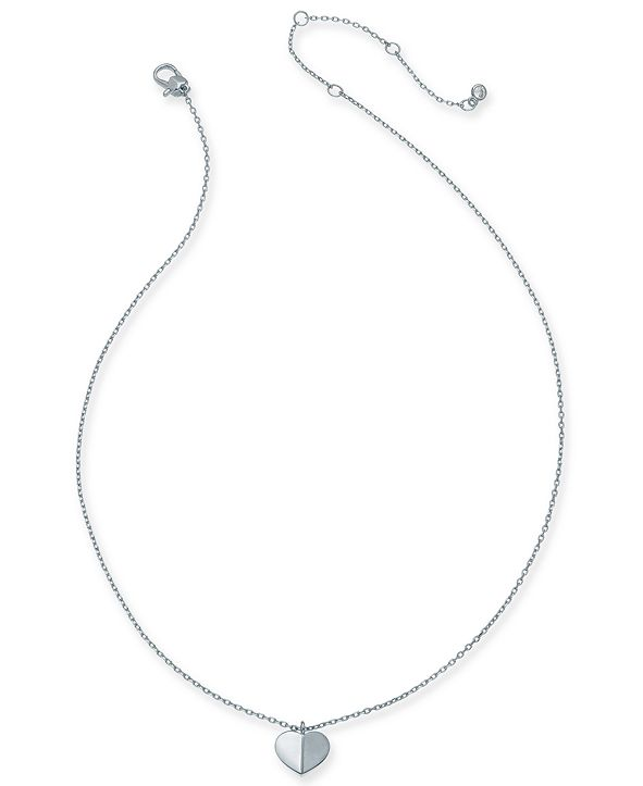 """kate spade new york Gold-Tone, Silver Tone or Rose-Gold Tone Heart Pendant Necklace, 16"""" + 3"""" Extender"""