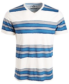 Men's V-Neck Watermark Striped T-Shirt, Created from Macy's