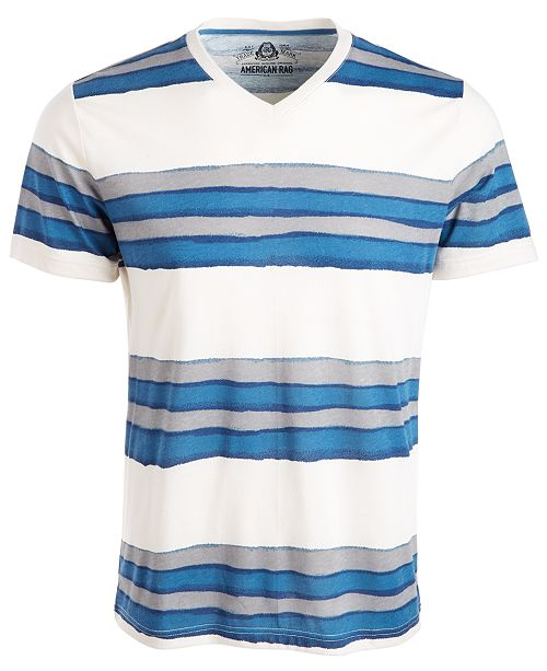 American Rag Men's V-Neck Watermark Striped T-Shirt, Created from Macy's