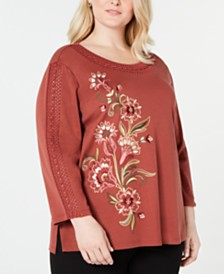 Alfred Dunner Plus Size Cedar Canyon Embroidered Knit Top