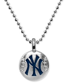 """Alex Woo New York Yankees 16"""" Pendant Necklace in Sterling Silver"""