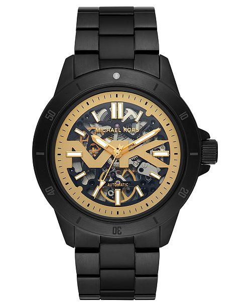 Michael Kors Men's Automatic Bayville Black Stainless Steel Bracelet Watch 47mm