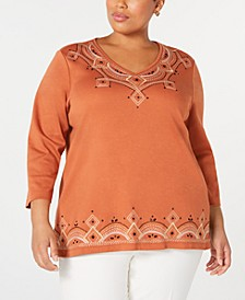 Plus Size Street Smart Embroidered 3/4-Sleeve Top