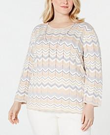 Plus Size Boardroom Metallic Chevron Necklace Sweater