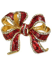 Gold-Tone Crystal & Epoxy Gift Bow Pin, Created for Macy's