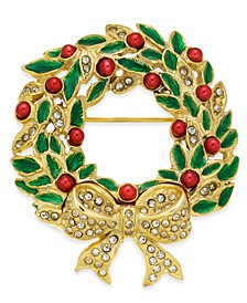 Gold-Tone Crystal, Bead & Epoxy Wreath Pin, Created for Macy's