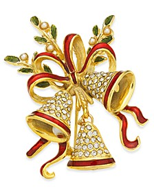 Gold-Tone Crystal & Imitation Pearl Triple Bell Pin, Created for Macy's