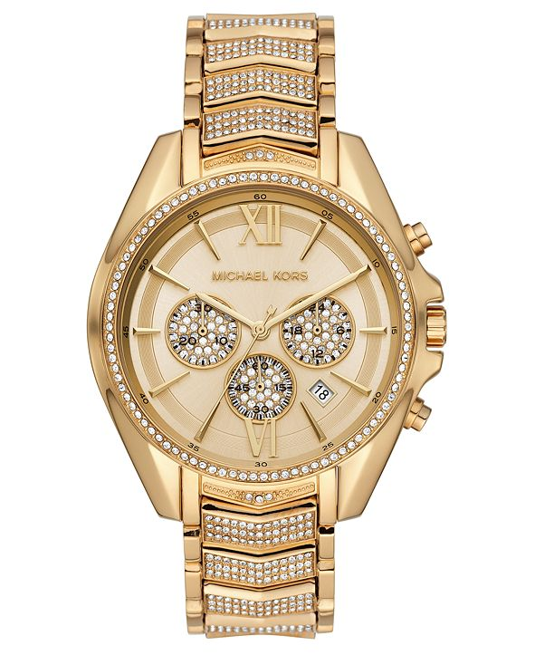 Michael Kors Women's Chronograph Whitney Gold-Tone Stainless Steel Pave Bracelet Watch 45mm