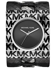 Michael Kors Women's Willa Black & White Leather Cuff Watch 42x48mm