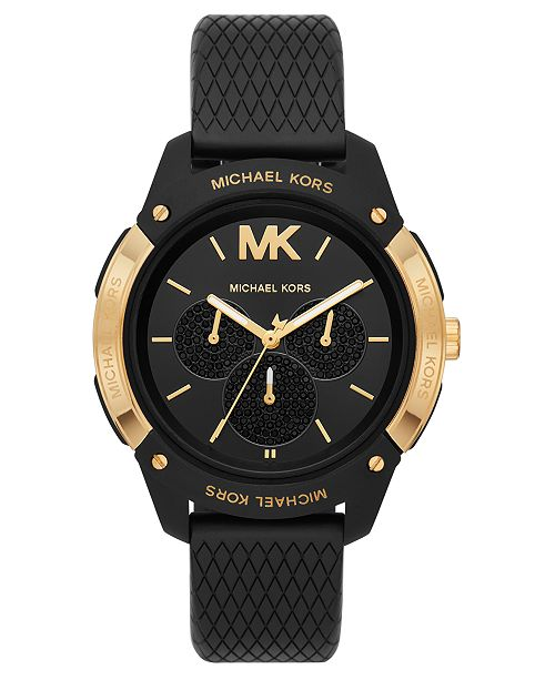 Michael Kors Women's Ryder Black Silicone Strap Watch 44mm