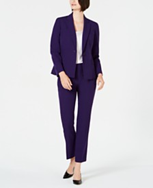 Le Suit Notched-Lapel One-Button Pantsuit