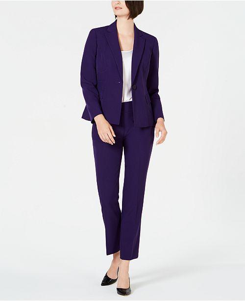 Le Suit Notched-Lapel One-Button Pantsuit