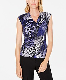 Petite Safari-Print Cowl-Neck Top
