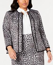 Plus Size Leopard-Print Blazer