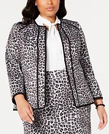 Kasper Plus Size Leopard-Print Blazer