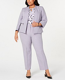 Plus Size Open-Front Blazer, Printed Top & Stretch Pants