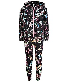 Big Girls Floral-Print Hooded Windbreaker Jacket & High-Waisted Printed Leggings, Created for Macy's