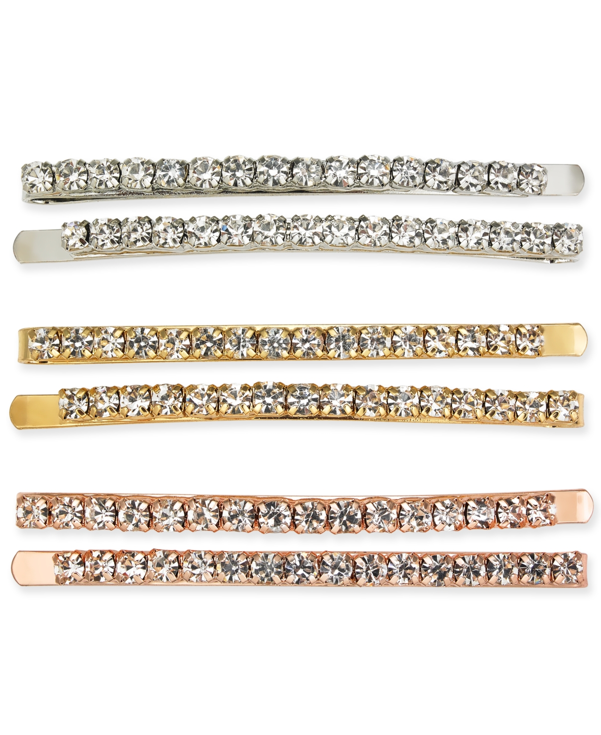 Inc International Concepts Tri-Tone 6-Pc. Set Crystal Bobby Pins, Created for Macy's