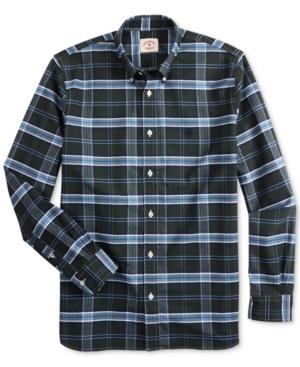 Brooks Brothers Men's Red Fleece Regular-Fit Oxford Plaid Shirt