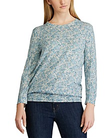 Floral-Print 3/4-Sleeve Sweater