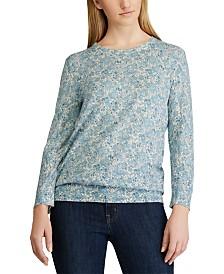 Lauren Ralph Lauren Floral-Print 3/4-Sleeve Sweater