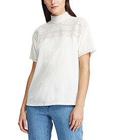 Lace-Trim Mockneck Top