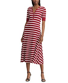 Stripe-Print Cotton Fit & Flare Dress