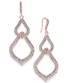 INC Rose Gold-Tone Pavé Interlocking Linear Drop Earrings, Created for Macy's