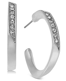 Charter Club Silver-Tone Angular Crystal Hoop Earrings, Created for Macy's