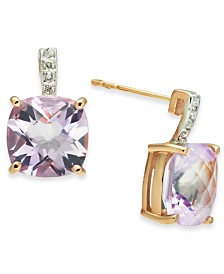 Pink Amethyst (5-5/8 ct. t.w.) & Diamond (1/20 ct. t.w.) Stud Earrings in 14k Rose Gold