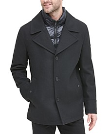 Men's Stadium Shorty Peacoat with Quilted Bib, Created for Macy's