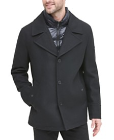 DKNY Men's Stadium Shorty Peacoat with Quilted Bib, Created for Macy's
