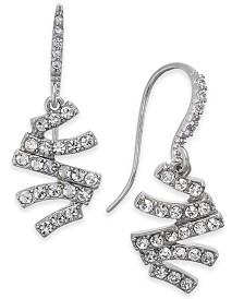 I.N.C. Silver-Tone Pavé Zig-Zag Drop Earrings, Created for Macy's