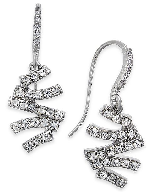 INC International Concepts INC Silver-Tone Pavé Zig-Zag Drop Earrings, Created for Macy's