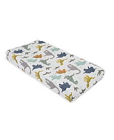 Dino Friends Cotton Muslin Changing Pad Cover