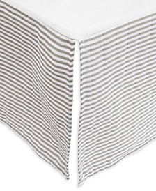 Grey Stripe Cotton Muslin Crib Skirt